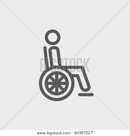 Disabled person icon thin line for web and mobile, modern minimalistic flat design. Vector dark grey icon on light grey background.