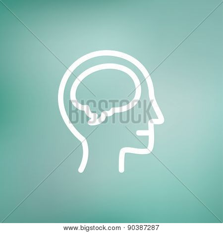 Human head with brain icon thin line for web and mobile, modern minimalistic flat design. Vector white icon on gradient mesh background.