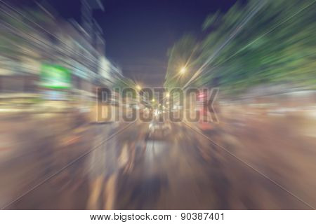 People Abstract Background Blur Motion On Walking Street In Chiang Mai,thailand.