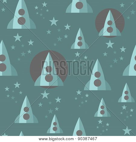 Seamless pattern with space rocket.