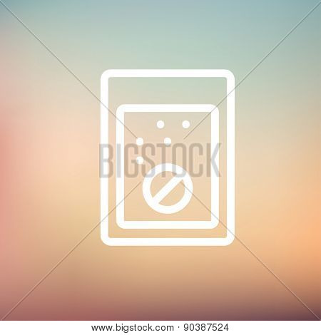 Tablet into a glass of water icon thin line for web and mobile, modern minimalistic flat design. Vector white icon on gradient mesh background.