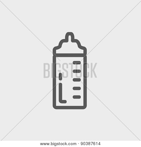 Feeding bottle icon thin line for web and mobile, modern minimalistic flat design. Vector dark grey icon on light grey background.