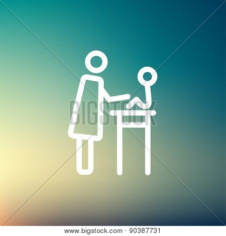 Mother taking care of her baby sitting on high chair icon thin line for web and mobile, modern minimalistic flat design. Vector white icon on gradient mesh background.