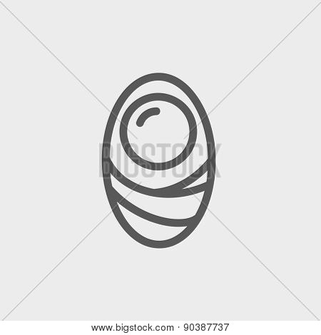 Human cell icon thin line for web and mobile, modern minimalistic flat design. Vector dark grey icon on light grey background.