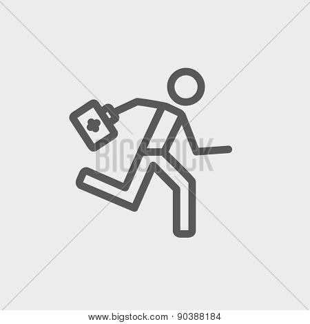 Paramedic running with first aid kit icon thin line for web and mobile, modern minimalistic flat design. Vector dark grey icon on light grey background.