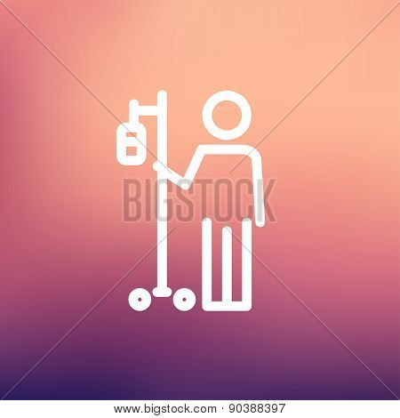Patient standing with intravenous saline solution icon thin line for web and mobile, modern minimalistic flat design. Vector white icon on gradient mesh background.