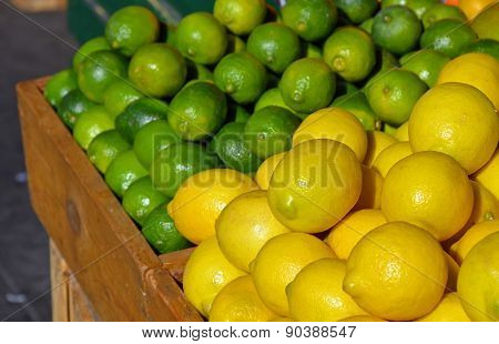 Lemons And Limes At Market