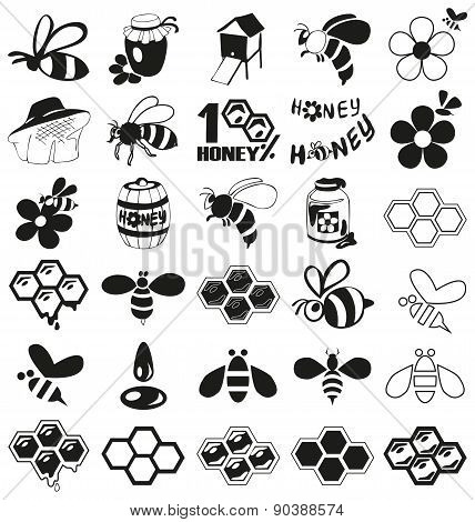 Bee And Honey Icons On White