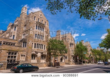 Yale University Buildings In Summer Blue Sky In New Haven, Ct Usa