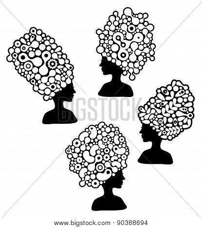 Set of beautiful women silhouettes with strange hair dress.