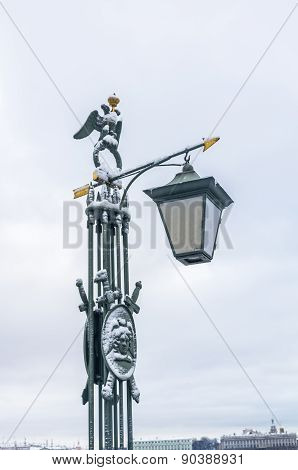 Old Lantern On The Bridge In Peter And Paul Fortress In Saint-petersburg