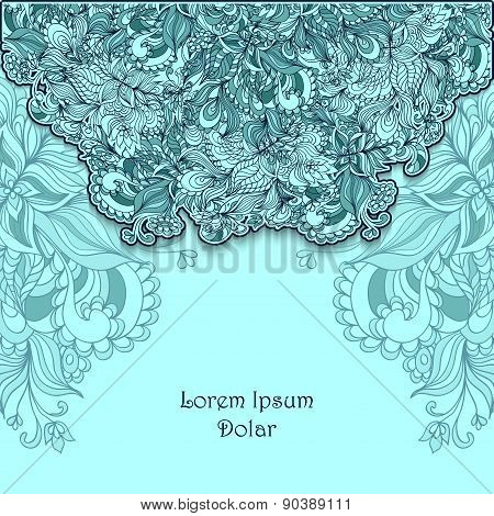 Template with doodle flowers  lace in blue