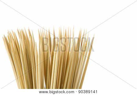 Bunch of wooden skewers