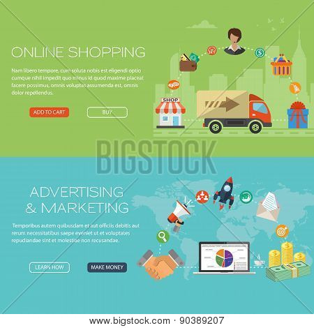 Online Shopping And Marketing Banners