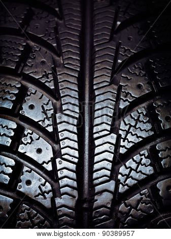 Closeup of a winter snow tire tread