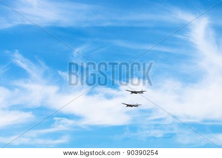 Two Strategic Bomber Aircrafts In White Clouds