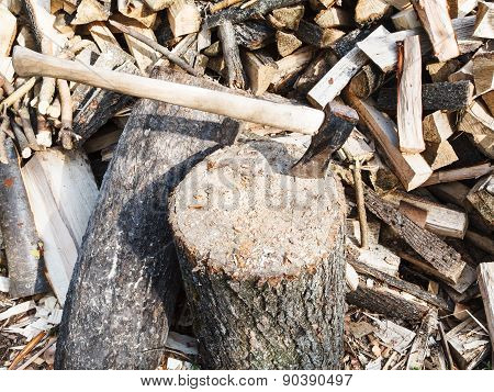 Wood Chopper Ax In Block For Chopping Firewood