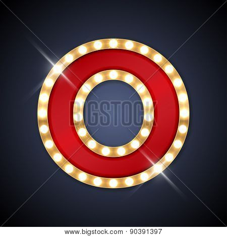 Vector illustration of realistic retro signboard letter O. Part of alphabet including special European letters.