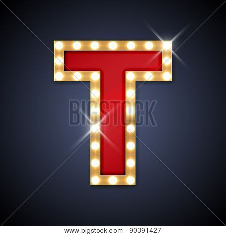 Vector illustration of realistic retro signboard letter T. Part of alphabet including special European letters.