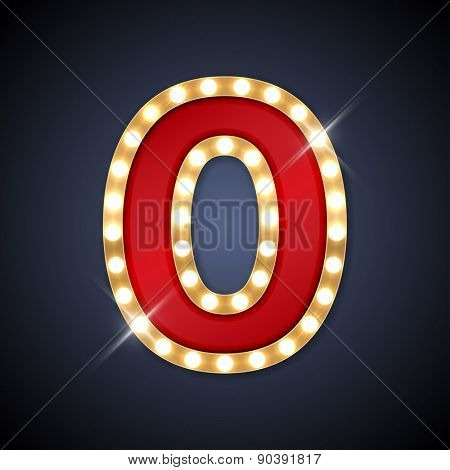 Vector illustration of realistic retro signboard number 0 (zero). Part of alphabet including special European letters.