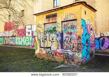 Urban Transformer Vault With Abstract Graffiti