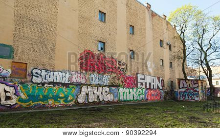 Abandoned Courtyard With Colorful Graffiti
