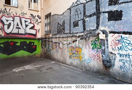 Urban Courtyard With Colorful Abstract Graffiti