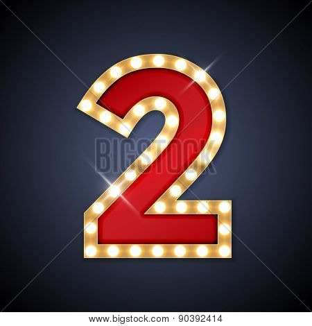 Vector illustration of realistic retro signboard number 2 (two). Part of alphabet including special European letters.