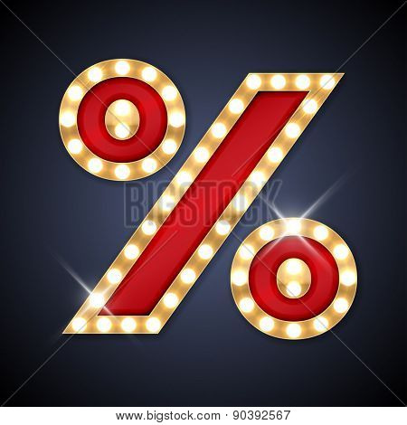 Vector illustration of realistic retro signboard Percent symbol (%). Part of alphabet including special European letters.