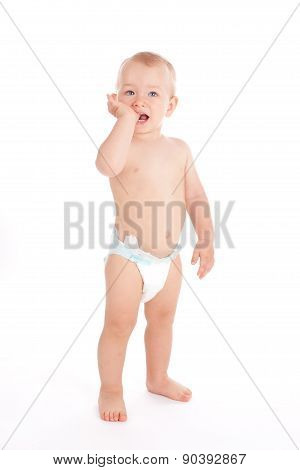 Portrait Of Standing Little Baby Boy