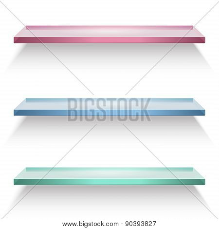 Red, Blue And Green Glass Shelves Isolated On White Background