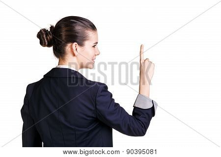 Woman with forefinger up