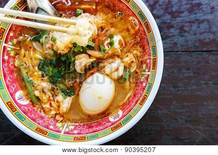 Prawn Noodles With Egg In Bowl Chinese Style