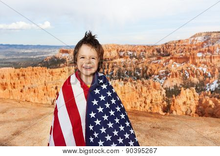 Bryce Canyon National Park and boy with USA flag