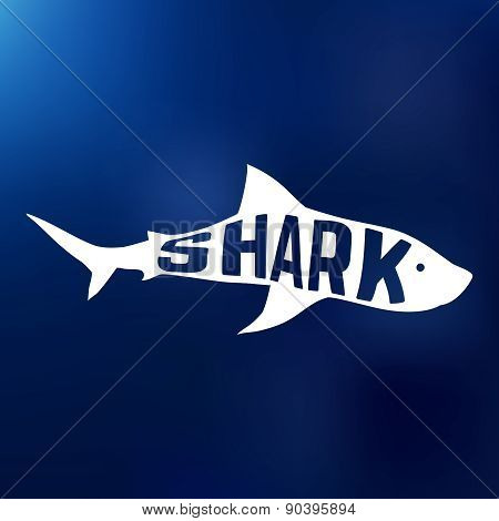 White shark silhouette with text inside. Logo concept