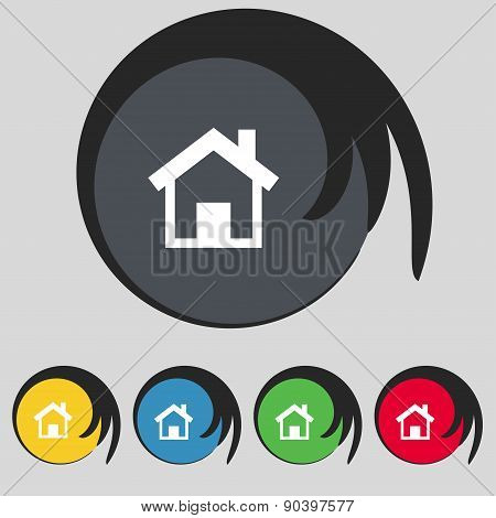 Home, Main Page Icon Sign. Symbol On Five Colored Buttons. Vector
