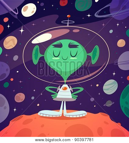 Happy alien. Retro styled card / poster / background. Vector illustration.