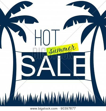 Summer sale design template with palms