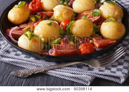 Appetizing New Potatoes With Bacon And Herbs, Horizontal
