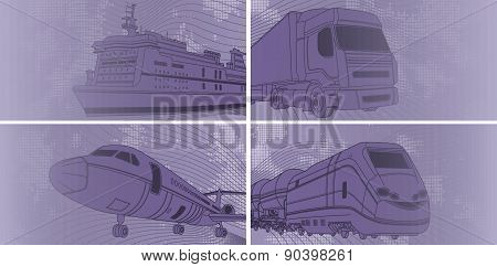 Transport background with airplane, train, truck, liner