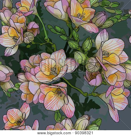 seamless pattern with Beautiful bouquet of spring freesias
