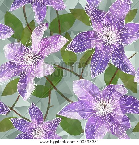 Seamless background with blooming clematis flowers in triangles style