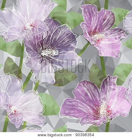 Seamless background with blooming Hibiscus flowers in triangles style