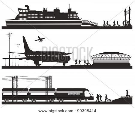 travelers in airport terminal, train station and pier with cruise liner