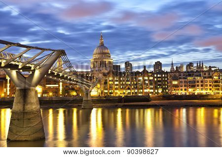 London St Pauls cathedral view over River Thames at night