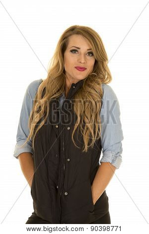 Woman With Black Vest Stand Shrug