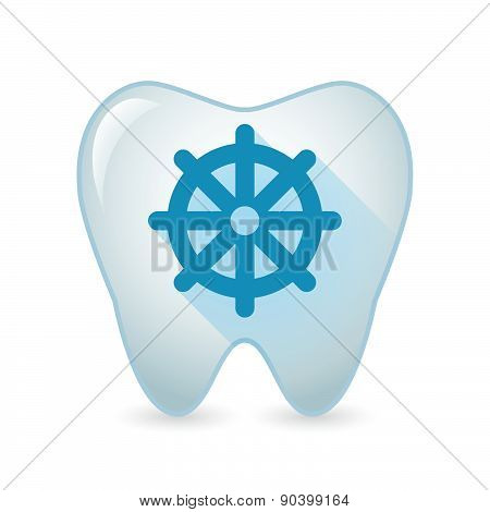 Tooth Icon With A Dharma Chakra Sign