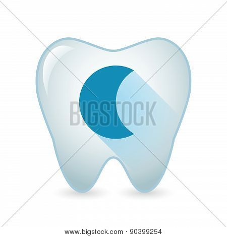 Tooth Icon With A Moon