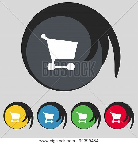 Shopping Basket Icon Sign. Symbol On Five Colored Buttons. Vector