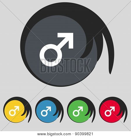 Male Sex Icon Sign. Symbol On Five Colored Buttons. Vector